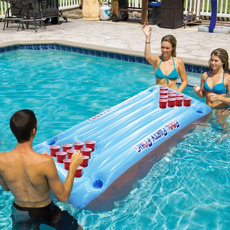 2018 New Hot Summer D'eau Party Fun Air Matelas Seau À Glace Refroidisseur 145 cm 24 Porte-Gobelet PVC Gonflable Bière pong Piscine Flotteur