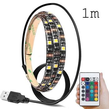 5V 5050 60SMDM RGB LED Strip Light Bar TV Back Lighting Kit+USB Remote Control rysunek kolorowy motyle