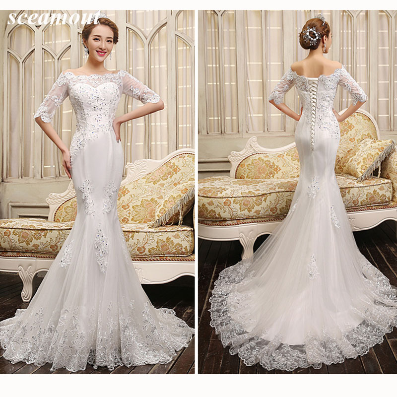 Off-the-Shoulder Lace Wedding Dress Half Sleeve Appliques Wedding Dress Vestido De Casamento