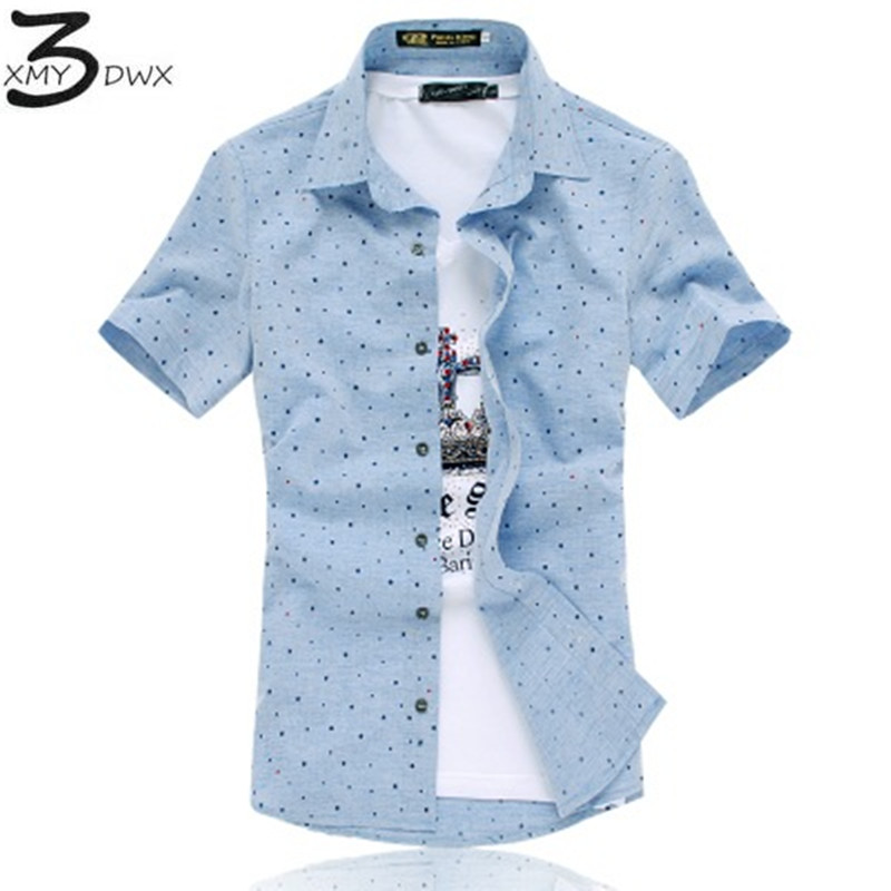XMY3DWX New style fashion male summerslim Fit Polka dot printing Casual business shirt/mens High-grade pure cotton shirts S-5XL