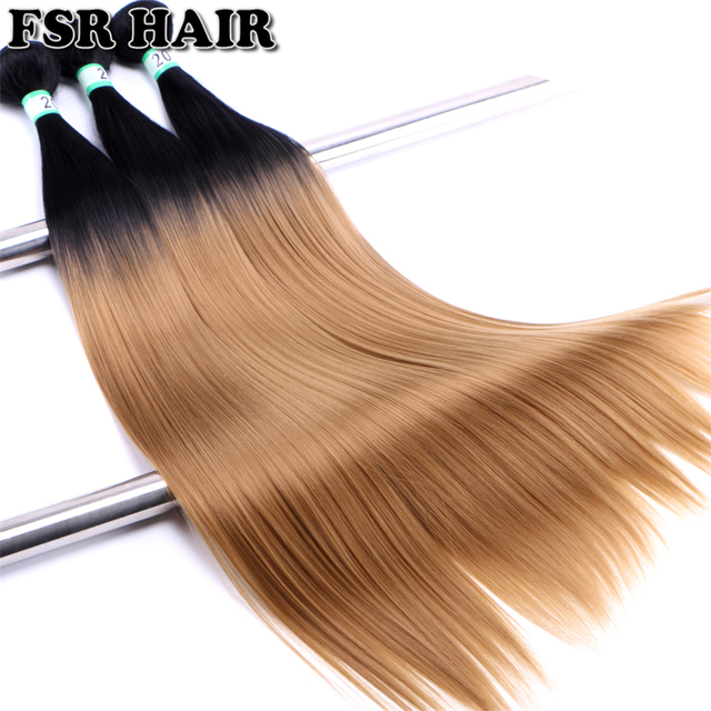 Fsr 30 Inch Over Length Black To Golden Synthetic Hair Weave Silky