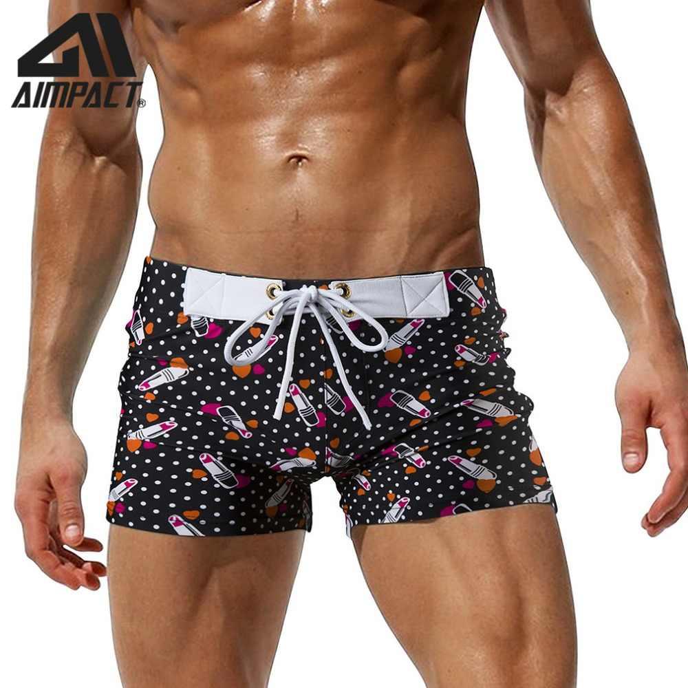 2019 ใหม่แฟชั่นกางเกงว่ายน้ำสำหรับชายพิมพ์ Beachwear กางเกงขาสั้นใหม่เซ็กซี่สแควร์ขาชุดว่ายน้ำฤดูร้อน Bathsuit โดย Aimpact AM8105