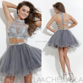 Halter Silver Tulle Sparkly Crystal Beaded Two Piece Short Crop Top Prom Dress Sexy vestido de festa curto