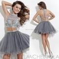 Halter de plata tul brillante moldeado cristalino de dos piezas Crop Top corto de baile vestido Sexy vestido de festa curto