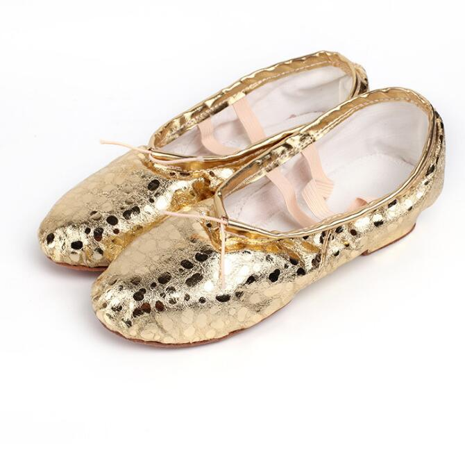 2018 New High Quality Shining Gold Color Girl Dance Shoes Comfortable Ballet Shoes for Girls Factory Dropshipping