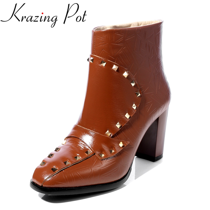 Krazing Pot 2018 new arrival genuine leather print flower rivets fashion winter shoes runway zipper thick heel ankle boots L7f6