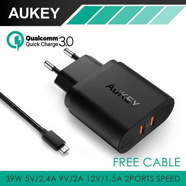 Aukey 36 w dual usb porta de viagem carregador de parede com a qualcomm carga rápida 3.0 para motorola nexus 6 e mais smartphones