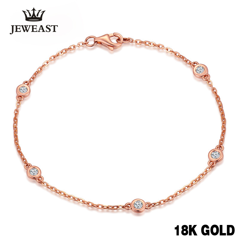 18k Pure Rose Gold Natural Bracelet Women Fashion Bangle Romantic Female Jewelry Girl Gift Party Trendy Hot Sale Good enzo pure 18k white gold earring jewelry aquamarine women girls gift party female drop earrings solid hot sale new good trendy