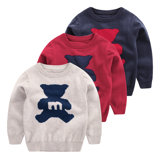 2016 Children's Sweater Boys Girls Baby Kids Cartoon Bear Autumn Long Sleeve Pattern Children Casual Knit Tops Outerwear 1-7T