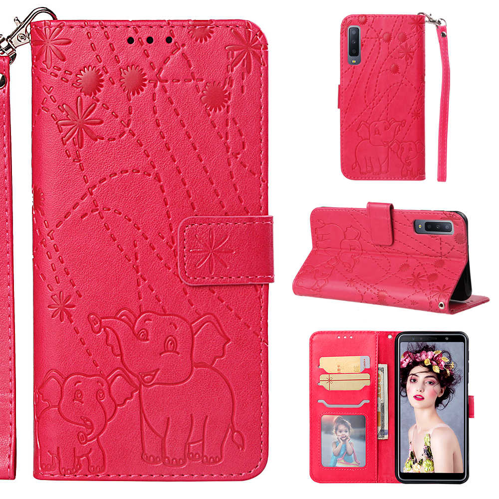 1pcs For Galaxy A6 A6 Plus 2018 J8 2018 Stand Fireworks Elephant Book Style Leather Case For Samsung Galaxy A70 A7 2018 A750