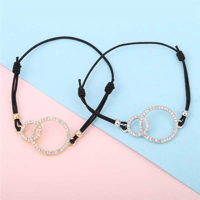 Simple Design Round Two Circles Crystal Charms Bracelet for Women Elastic Rope Adjustable Chain Bracelet Dropshipping 2018 new 17