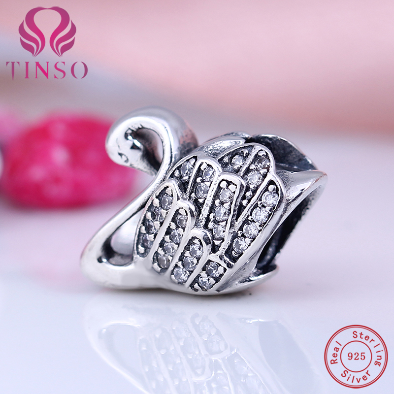 100% Authentic Real 925 Sterling Silver Charms Cute Goose Beads Fit Pandora Charms Bracelet DIY Original for Jewelry Makings