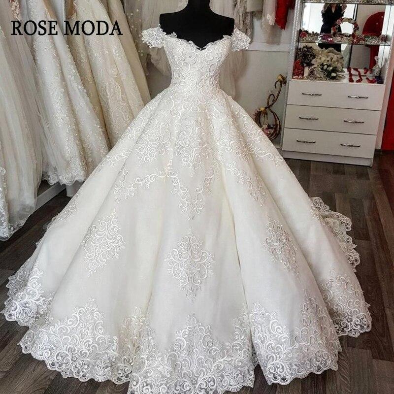 Rose Moda profonde col en V dentelle robe de mariée 2019 dos nu princesse robes de mariée sur mesure