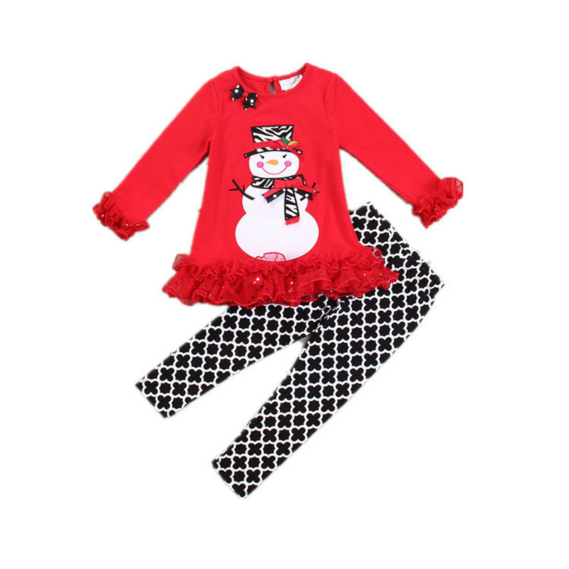 Christmas Baby Clothing Set Long Sleeve Xmas Snowman Kids Girls Outfits Costume Children Girls Set Party Gift Toddler Clothes