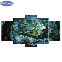 diamond embroidery mosaic 5 Pieces Fantasy Houses Magic Forest Night Pictures Tree Poster Home Decor 5d diy diamond painting