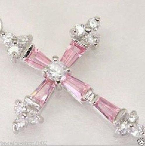 Regalo de las mujeres palabra Amor envío de la venta Caliente nuevo Estilo>>>>> nueva Cruz Rosa de Cristal Colgante Plateado Collar + Free cadena