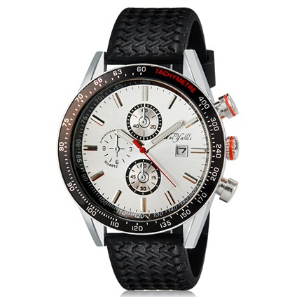 WeiYaQi Men Fashion Analog Quartz Watch Large Dial Wrist Watch with Calendar Sports Clock watches Rubber Band PENGNATATE
