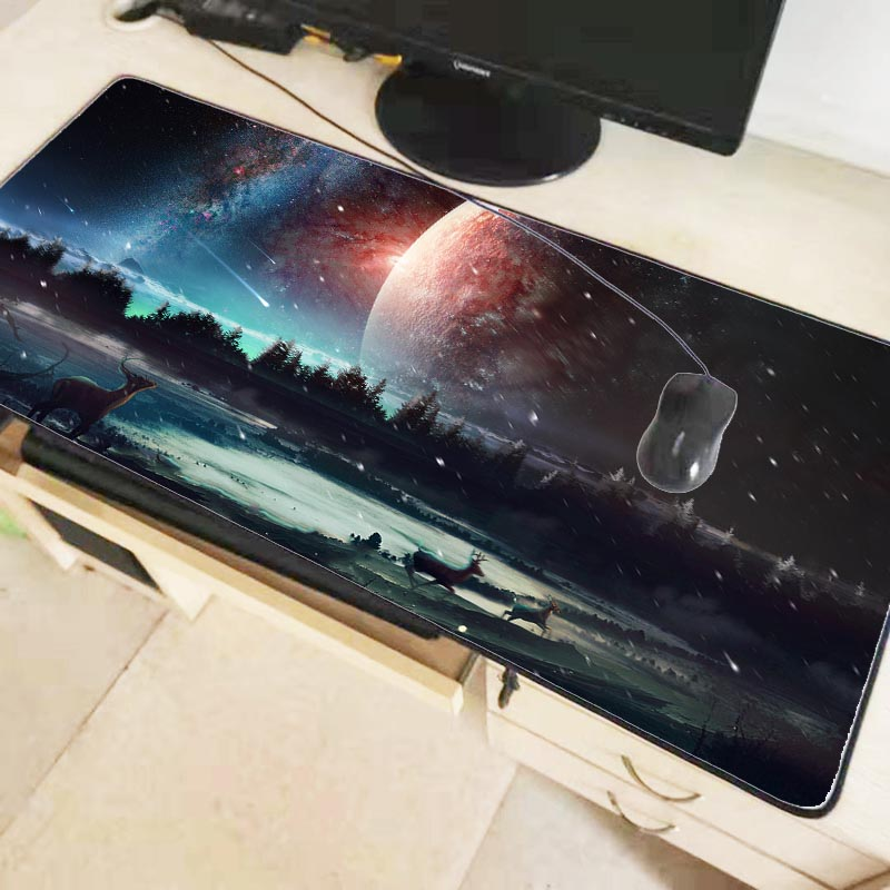 Mairuige 90X40CM Colorful Sky Moon Deer Unique Desktop Pad Game Mousepad Gaming Large Mouse Pad Computer Mats Notebook Mice Mats 1