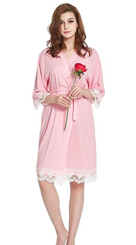 Cotton Bridesmaid Lace Robes With Trim Women Wedding Bridal Robe Short robes 002in Robes from