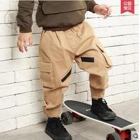 2017 Khaki Cargo Pants Boys Dance Hiphop Trousers Children S 100 Cotton Pants Overalls Multi Pocket