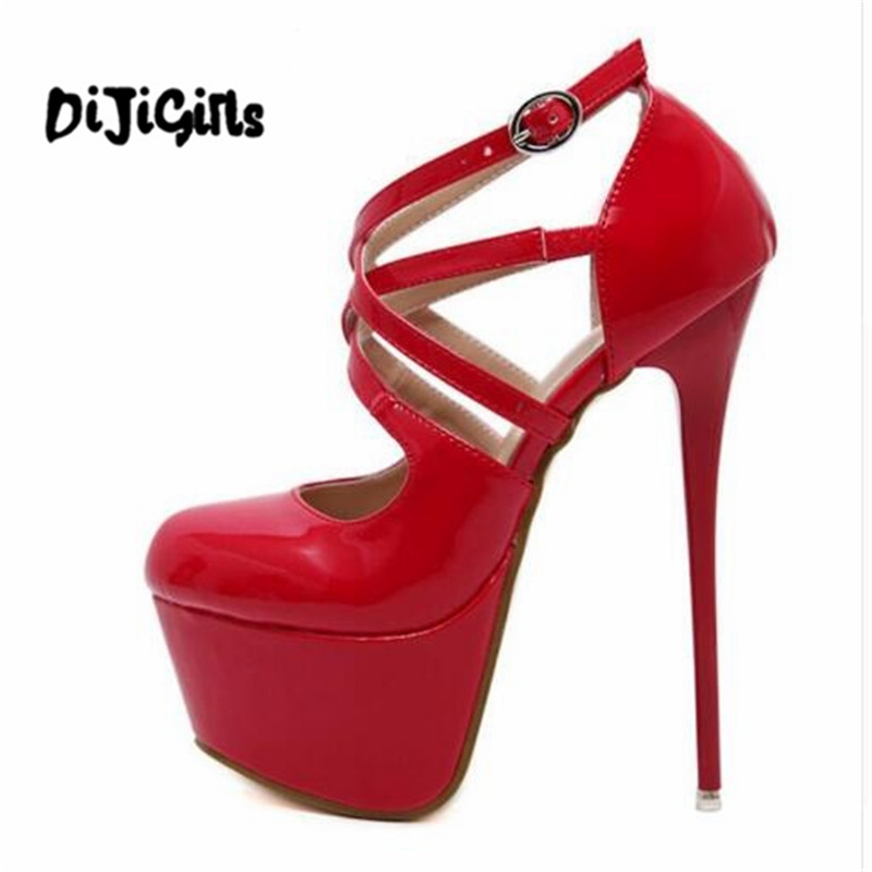 New Wedding Gladiator Shoes Women Pumps Platform Shoes Sexy High Heels 16cm Cross Tied Ladies Stiletto Heel Red Black lady red shoes heels women pumps fashion suede high heels ladies wedding shoes platform round toe sexy footwear g752