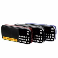 Pocket Radio Digital FM AM Radio Music Player Multimedia Speaker With Flashlight TF Card USB Disk
