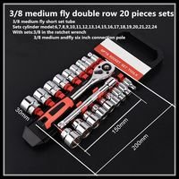 Ratchet wrench set medium fly 3/8 short sets tube double row 20 pieces sets auto repair socket wrench hand tool set