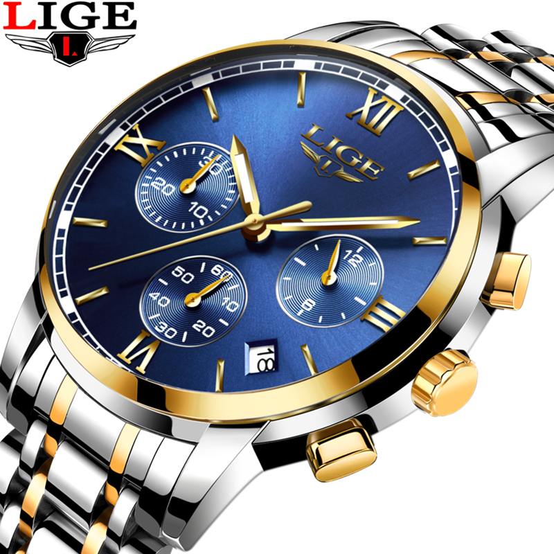 LIGE Mens Luxury Brand Six pin Full steel Quartz Watches Men Military Sport Watch Man Fashion Casual Clock men relogio masculino new fashion mens watches gold full steel male wristwatches sport waterproof quartz watch men military hour man relogio masculino
