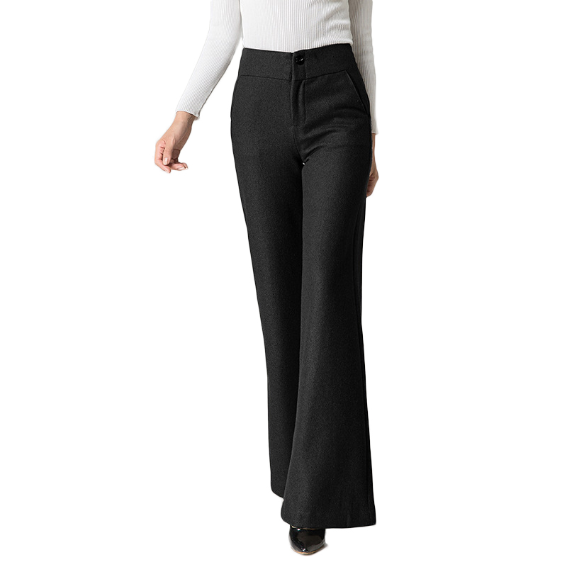 Womens Woolen Thick Warm Straight Flare Pants For Winter Plus Large Size Wide Leg Pants Female