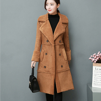 Winter women long coat 2018 new fashionable dress thick cotton padded jacket slimming waist Imitation buckskin fur coat