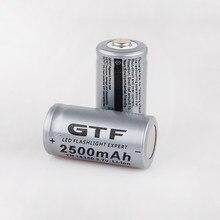 Venda empacotada gtf 3.7v 2500mah 16340 bateria cr123a li-ion baterias recarregáveis