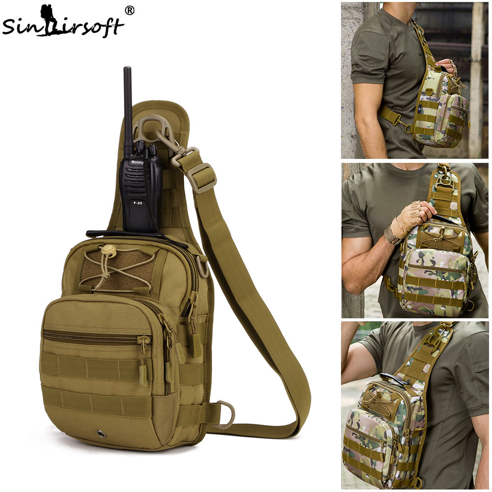 Купить с кэшбэком Sport Hunting Fishing Military Wallet Tactical Travel Backpack MOLLE EDC Bag Pouch Single Shoulder Bags Nylon Wading Chest Pack