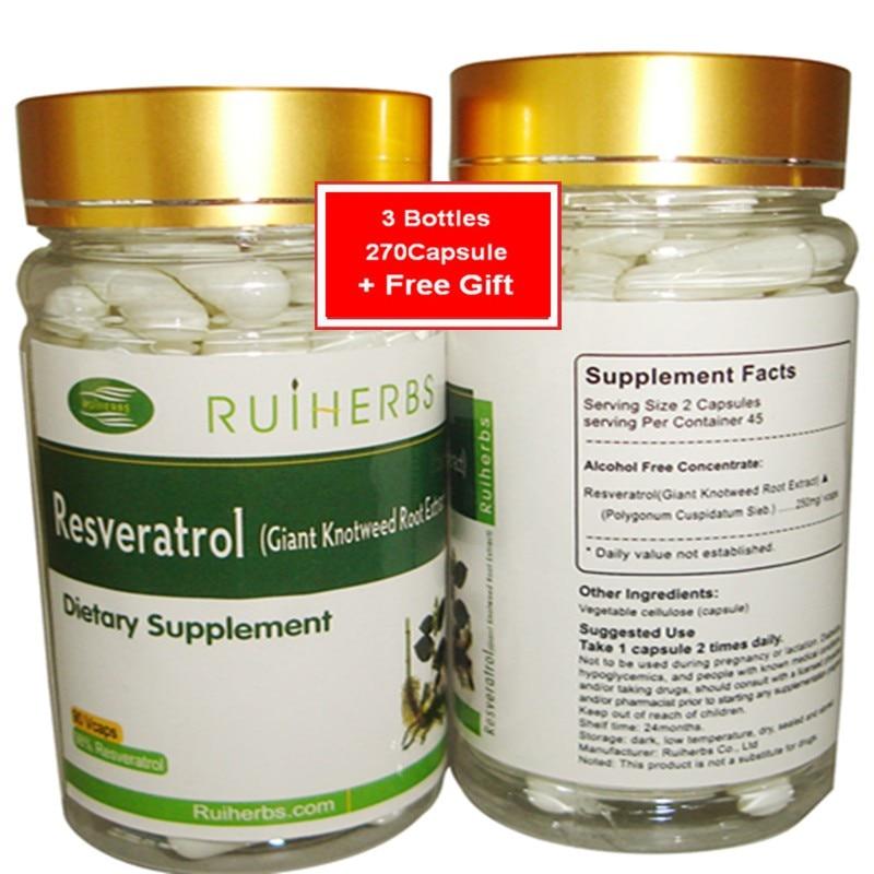 3Bottles Resveratrol Capsule 500mg x270pcs for Maximum Anti-Aging Support, Immune System Boost & Heart Health gingko biloba capsule health food 500mg 600pcs