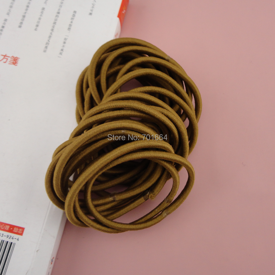 50PCS 4mm khaki Elastic Ponytail Holders with gluing connection,Elastic Hair Ties,elastic hairbands for braids plaits