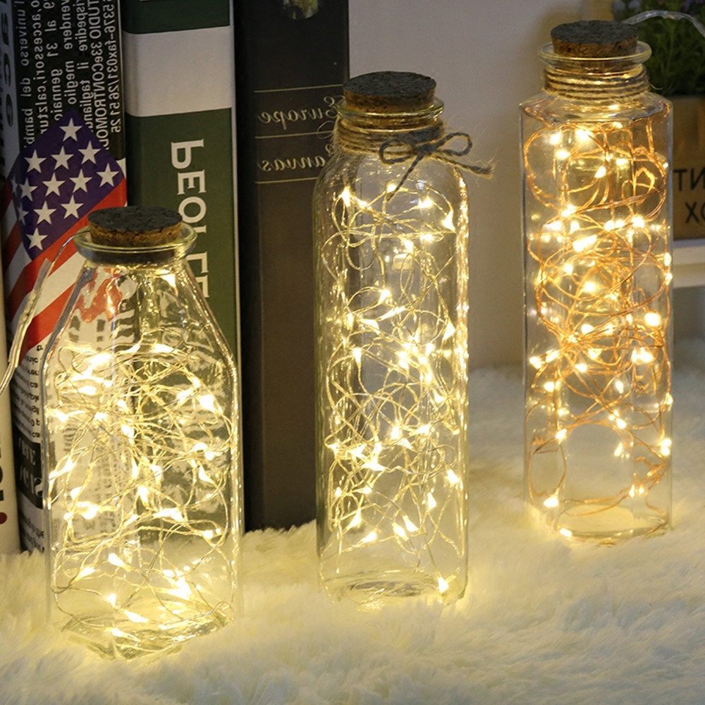 New Year 2M 5M 10M LED Silver Wire String Lights For Christmas Home Wedding Decoration Fairy Garland Waterproof Battery Powered