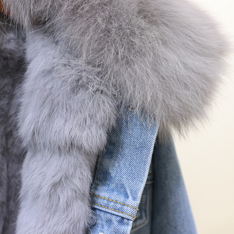 Abnehmbaren Warme Wolle Oberbekleidung white Winter Fox Mantel Jacke Frauen Liner Dicken Echt Gray Fell Pelz Jeans Kaninchen Denim Grund Mäntel Kragen gAaqIWAw