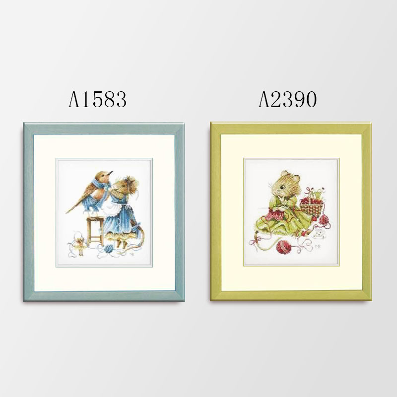 Fishxx Cross Stitch Kits A1583 A2390 Bunny Mother And Daughter Paintings Sets Embroidery Egyptian Cotton On Needlework Lovely