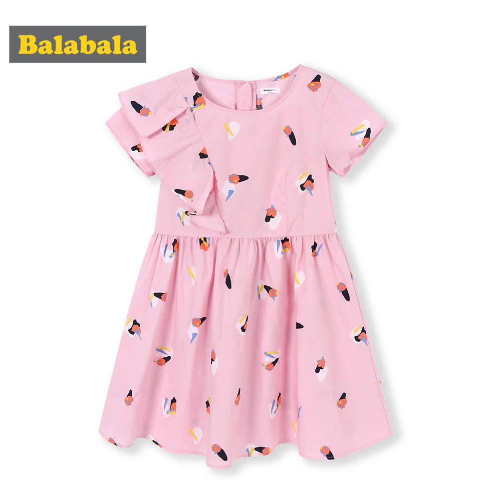 Balabala1-7 年キッズガール夏 chidlren 服幼児のベビーコットンノースリーブプリントフラワープリンセスドレス dre