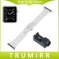 Correa de cerámica completa para iwatch apple watch 38mm correa de reloj butterfly correa de hebilla de pulsera pulsera de la correa negro blanco + enlace herramienta
