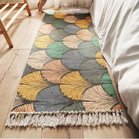 Cotton Linen Bedside Carpet Woven Mat Bathroom Living Room Carpets Geometric Hand Made Indian Rug Bohemia Modern Printing Mat