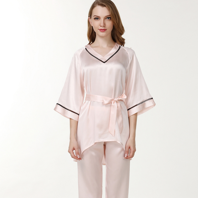 womens silk pajama set pants summer 2019 new red pink women brandwedding satin silk pajamas sets half sleeve top and pants sets