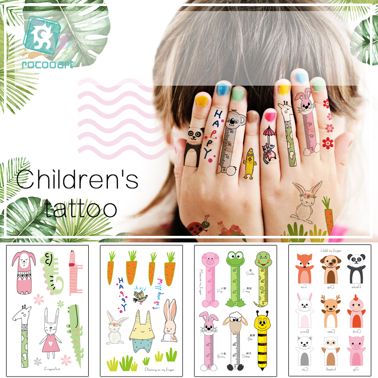 Rocooart New Finger Tattoo Fake Face Taty For Children Waterproof Temporary Tattoo Stickers Panda Pig Fox Tatuajes Kids Tatuagem