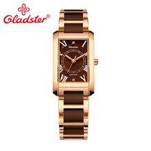 Gladster водонепроницаемые женские кварцевые наручные часы, модные женские часы с золотым сапфировым кристаллом, ювелирный подарок, аналоговые женские часы