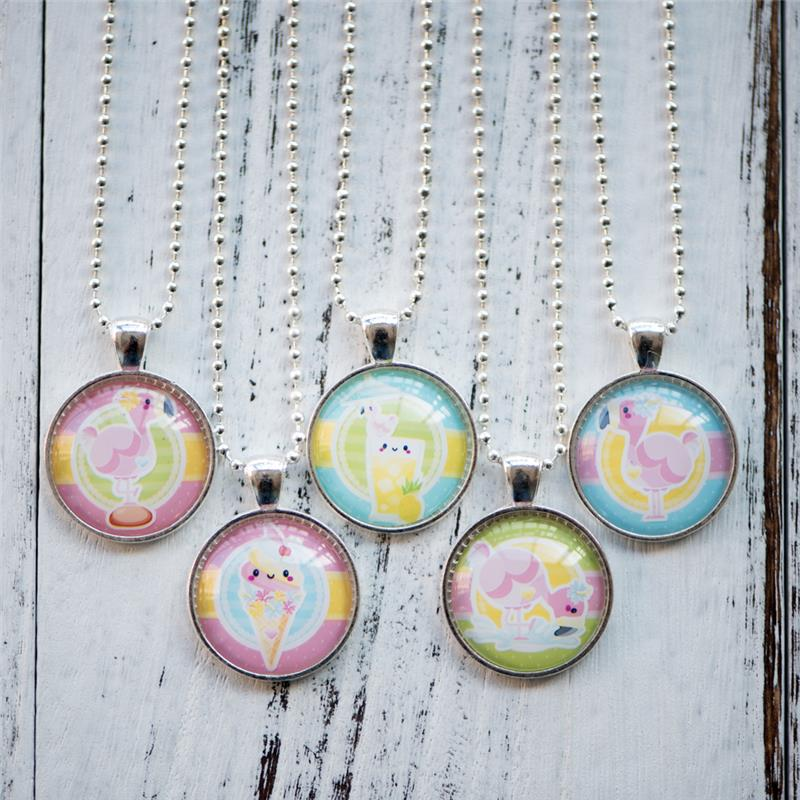 Cabochon Necklace Flamingo Motif Photo Pendant Glass Cabochon Necklace Handmade Women Je ...