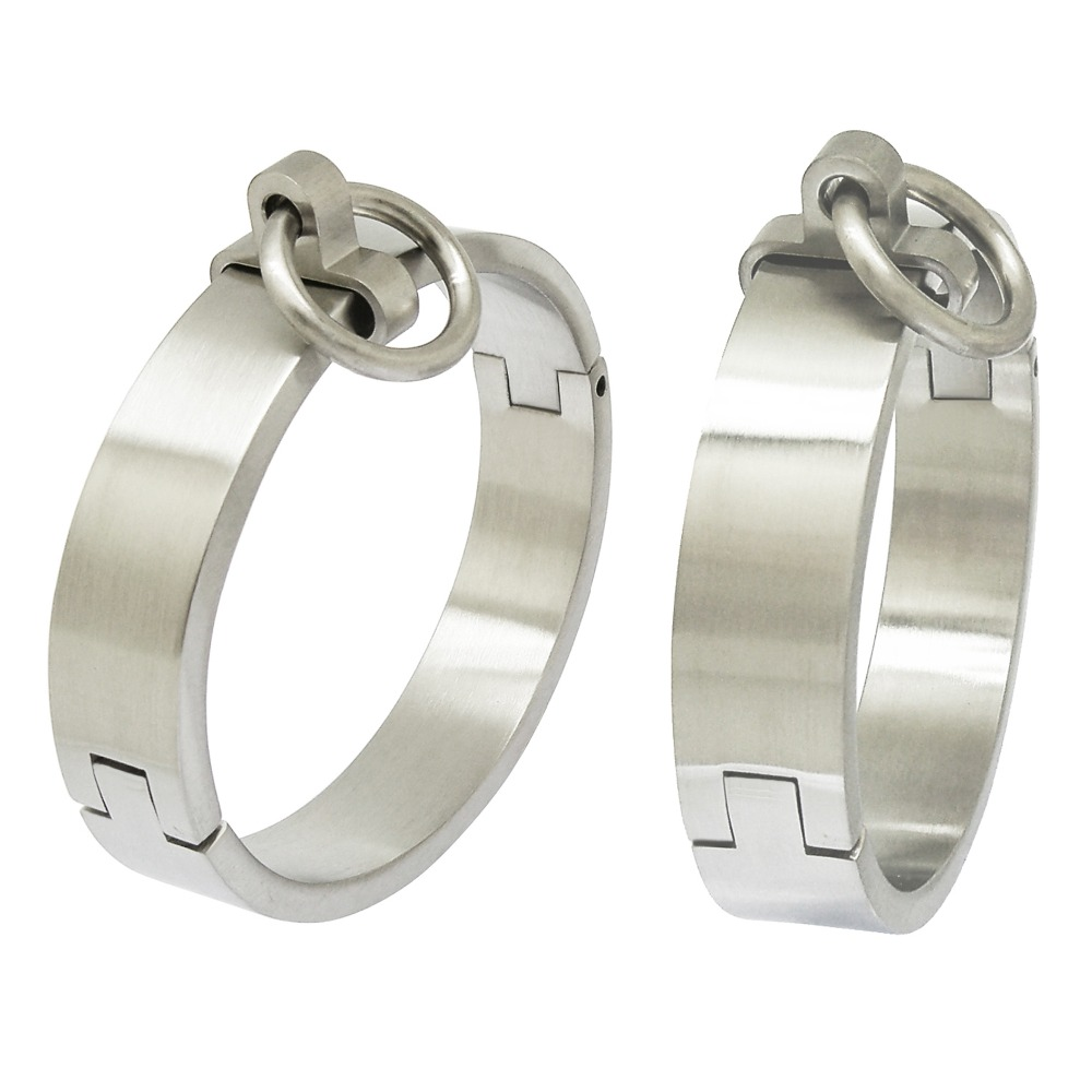 Brushed stainless steel lockable slave wrist and ankle cuffs bangle bracelet with removable O ringBrushed stainless steel lockable slave wrist and ankle cuffs bangle bracelet with removable O ring