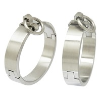 Brushed stainless steel lockable slave wrist and ankle cuffs bangle bracelet with removable O ring