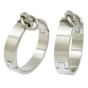 Image 1 - Escovado aço inoxidável lockable escravo pulso e tornozelo punhos pulseira com removível o anel