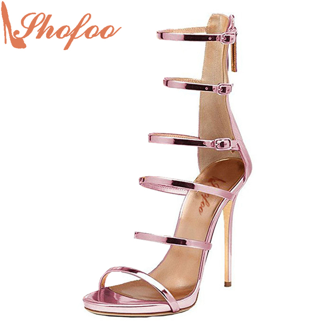 55942bc9938a86 Knee High Gladiator Superstar Shoes Top Quality Turquoise Shoes Silver  Purple Pink Rose-Gold Summer Sandales Femmes Stiletto 33