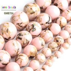 Cuentas de concha sueltas redondas de piedra de howlita rosa para la fabricación de joyas, pulsera de hilo DIY de 15 '', 4/6/8/10/12mm