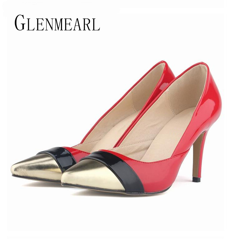 14b06ec67bc US $27.81 35% OFF|2019 Spring Celebrity Women Pumps Sexy Patent Leather  High heeled Women Shoes Black Red Gold High heels Shoes Large Size 42  XP40-in ...